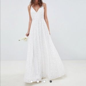 ASOS Sequin Cami Wedding Dress (US size 6)
